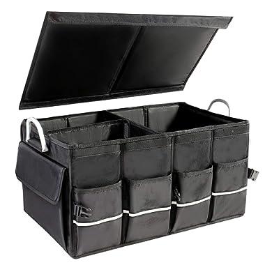 LAurth Multi Compartments Trunk Organizer, Collapsible and Portable Car Trunk Organizer, Trunk Storage for Car Van SUV (Black)