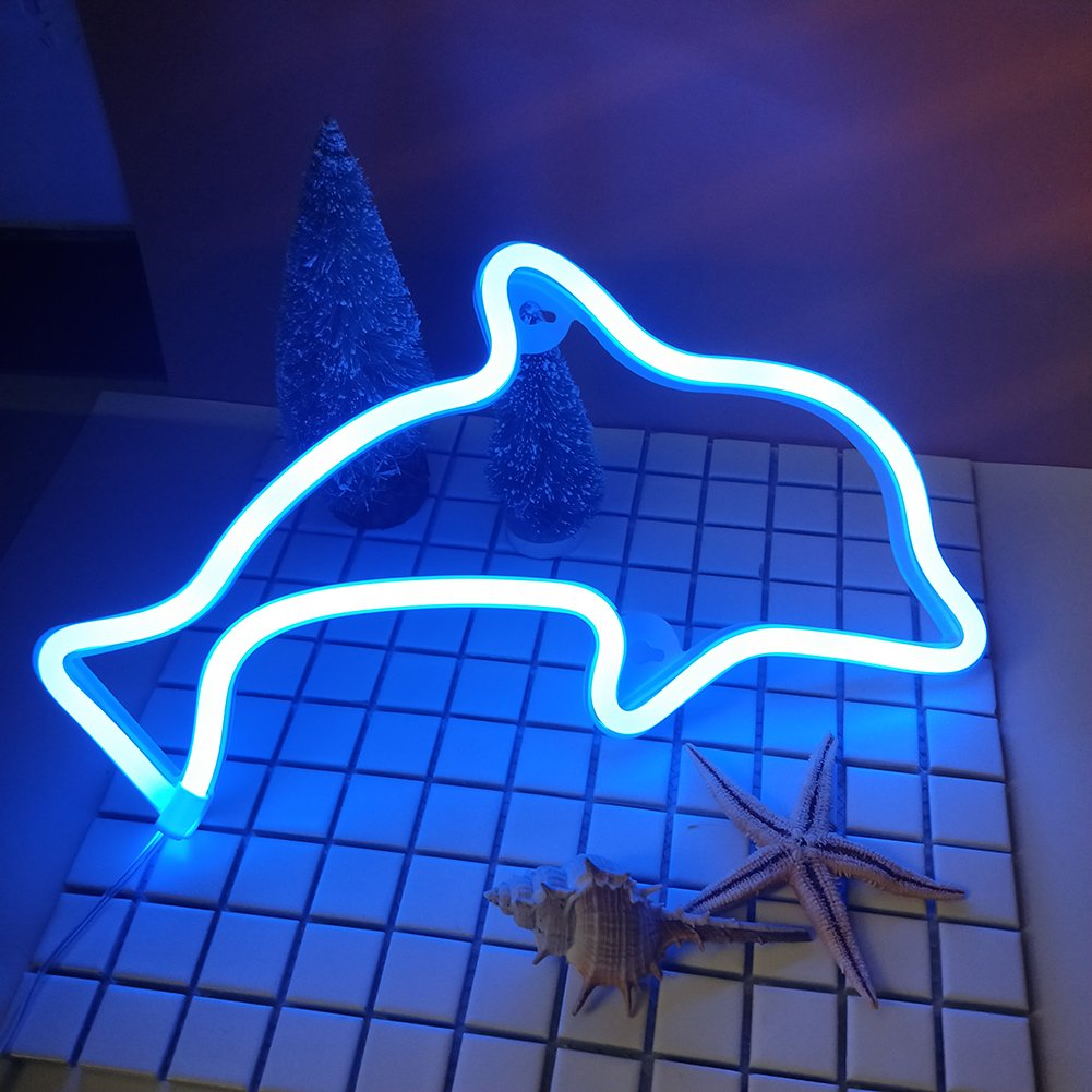 Dolphin Neon Signs Light Led Neon Art Decorative Lights Wall Decor for Children Baby Room Christmas Wedding Party Decoration