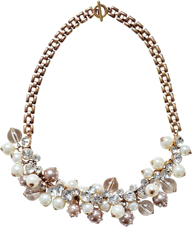 Happiness Boutique Damas Collar Llamativo con Perlas   Moderno Collar de Cadena XXL en Oro Vintage Libre de Níquel y Plomo