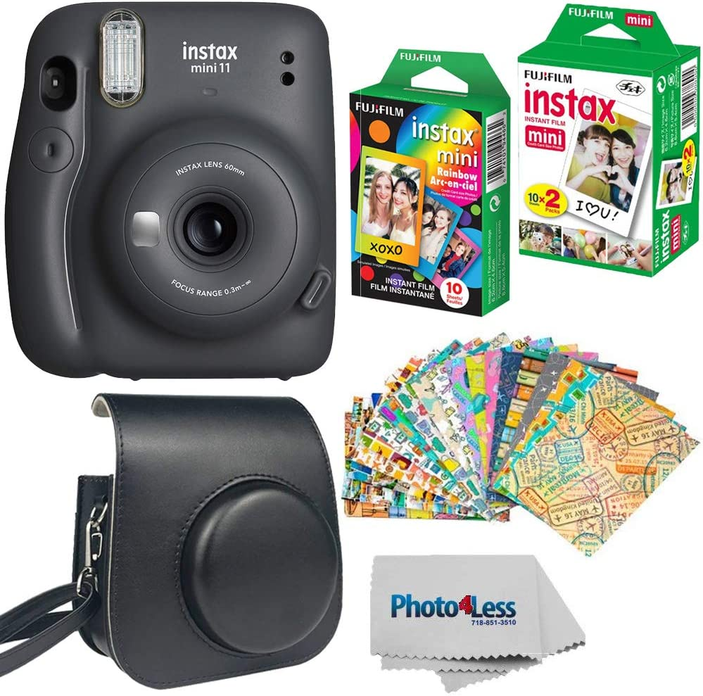 Fujifilm Instax Mini 11 Instant Camera - Charcoal Grey (16654786) + Fujifilm Instax Mini Twin Pack Instant Film (16437396) + Single Pack Rainbow Film + Case + Travel Stickers