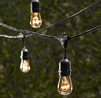 Outdoor Commercial String Globe Lights With Hanging Drop Sockets U2013 50ft U2013  24 Sockets And Bulbs
