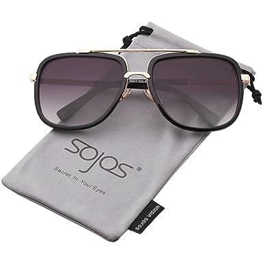 SOJOS Lunettes de Soleil Oversize Aviateur Carré Goggle pour Homme SJ1080 avec Noir Cadre/Argenté Miroir Lentille YZFaSY