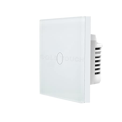 GLSTouch Smart RF Touch Light Switch, White Glass Panel, 1 Gang 1 ...