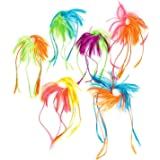 Adorox 12 pcs Nylon Two-Tone Neon Hair Piece Extension Attachments Dress Up Costume Add On Scrunchie Accessory
