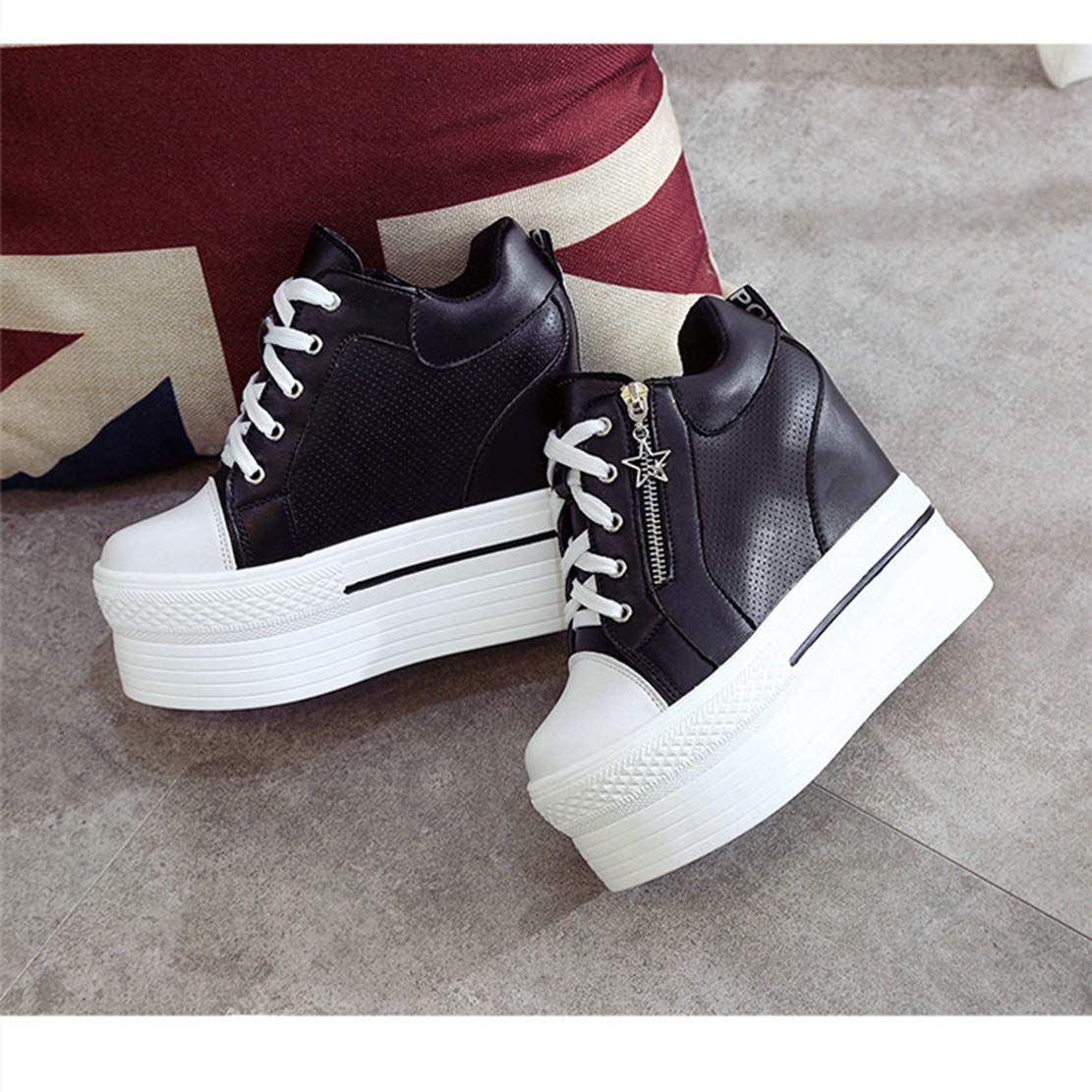 Btrada Women Platform Zipper Wedge Sneakers Waterproof Thick High Heel Shoes Increased Casual Shoes Heel B07GCNS7GR Fashion Sneakers b21950
