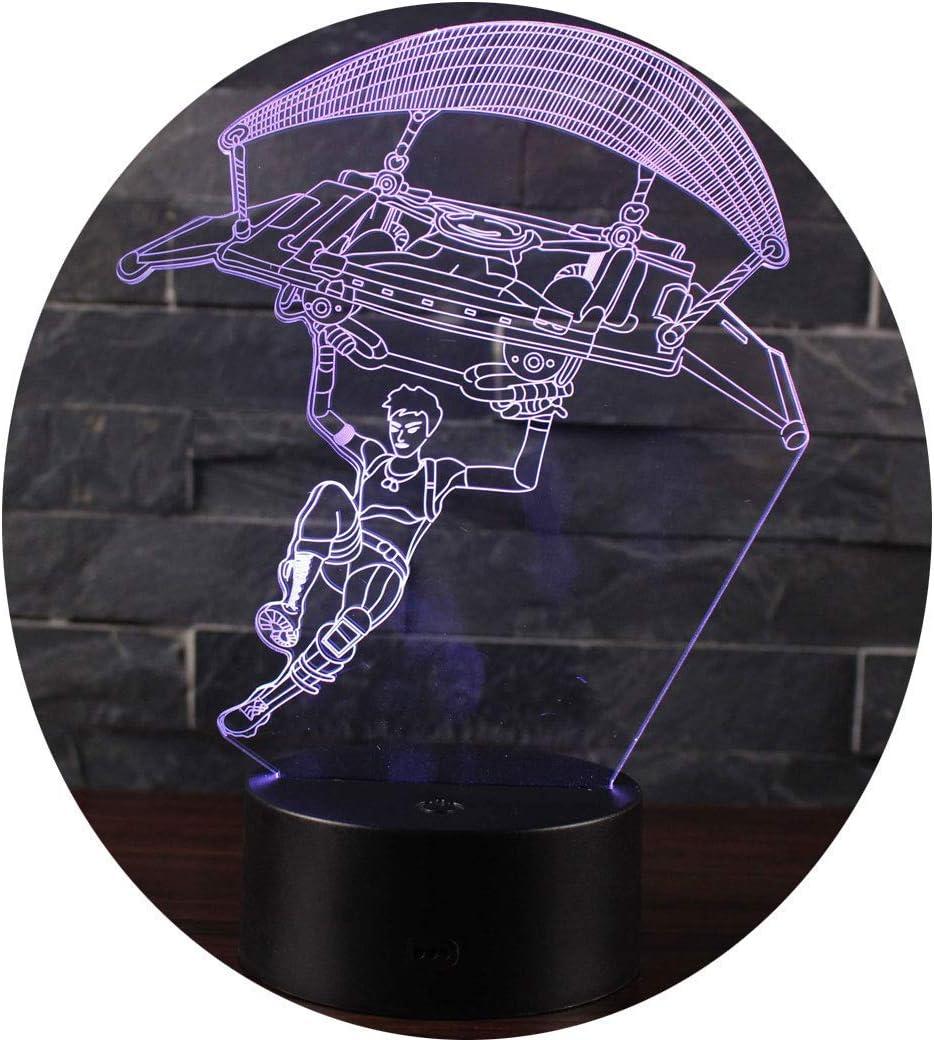 Leisu 3D Lámpara LED luz de la noche 7 cambiar el color botón táctil regalo de Navidad para el Hogar Decoración para Niños Mejor Regalo (A9)