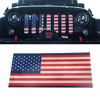 Z8LED Front Grill Insert Mesh Grill Insert American Flag for Jeep Wrangler 2007-2020 JK: Automotive