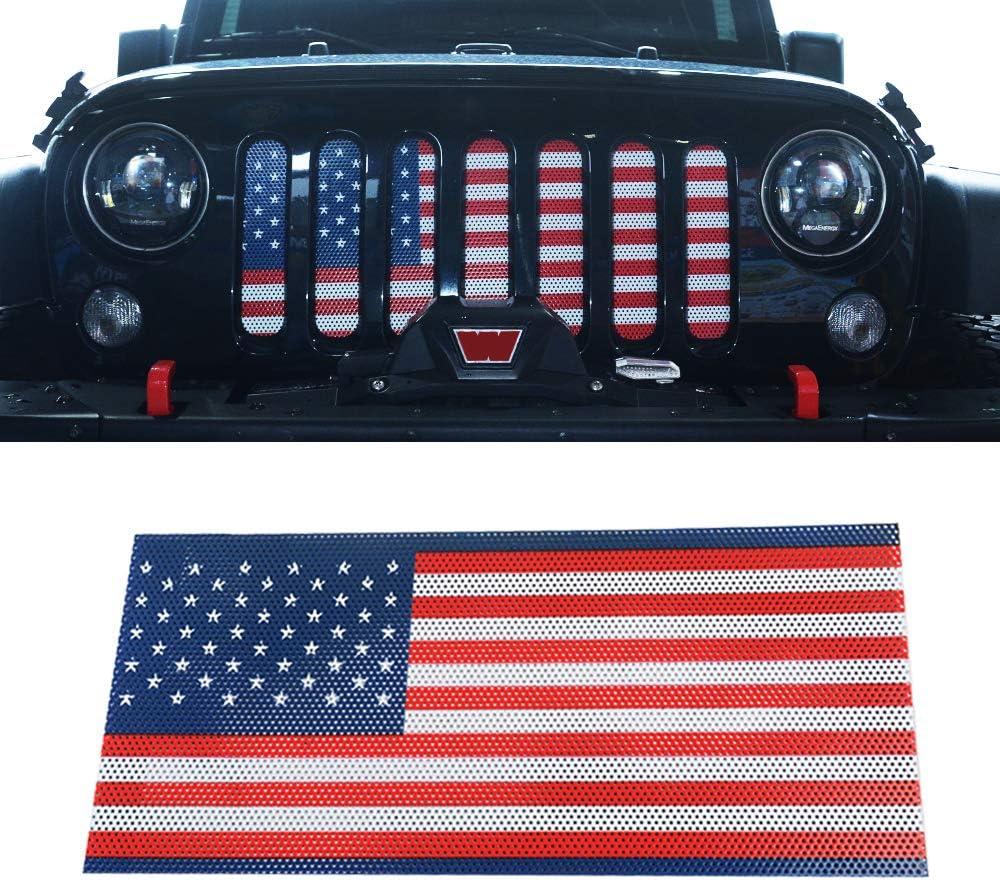 Z8LED Black Front Grill Insert Mesh Grill Insert American Flag for Jeep Wrangler 2007-2018 JK