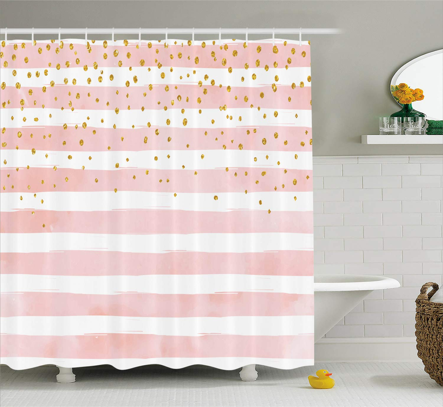 Modern Shower Curtain by Ambesonne, Striped Pattern in Pastel Colors with Vivid Colored Dots Shabby Art Print, Fabric Bathroom Decor Set with Hooks, 84 Inches Extra Long, Light Pink White Yellow