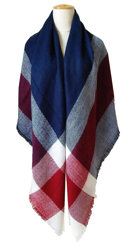 FEOYA Soft Two-side Plaid Blanket Scarf Cozy Tartan Wrap Shawl Scarfs for Women Coffee