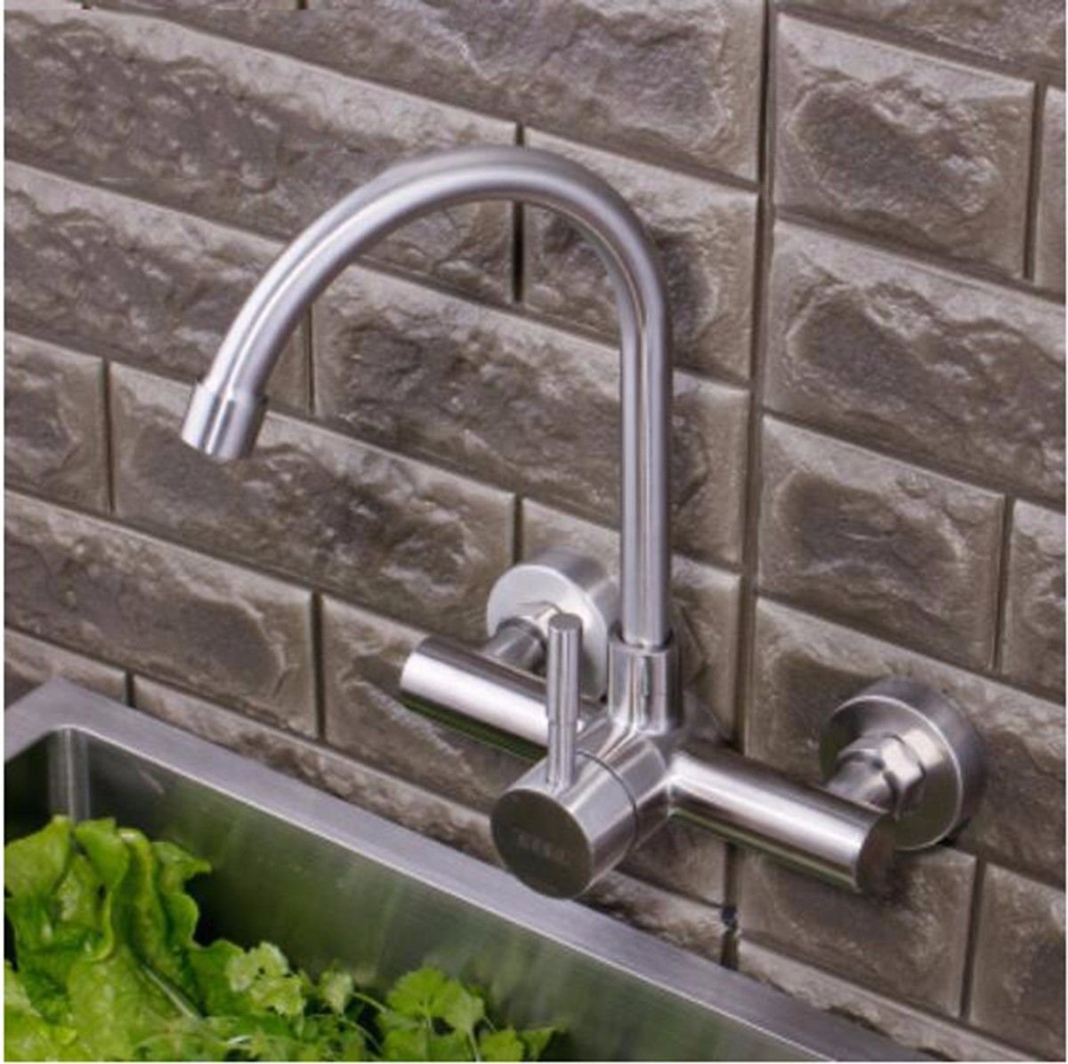 E Hlluya Professional Sink Mixer Tap Kitchen Faucet The 304 Stainless Steel WALL MOUNTED KITCHEN FAUCET hot and cold dish washing basin mixer to redate the balcony laundry pool water tanks, D.