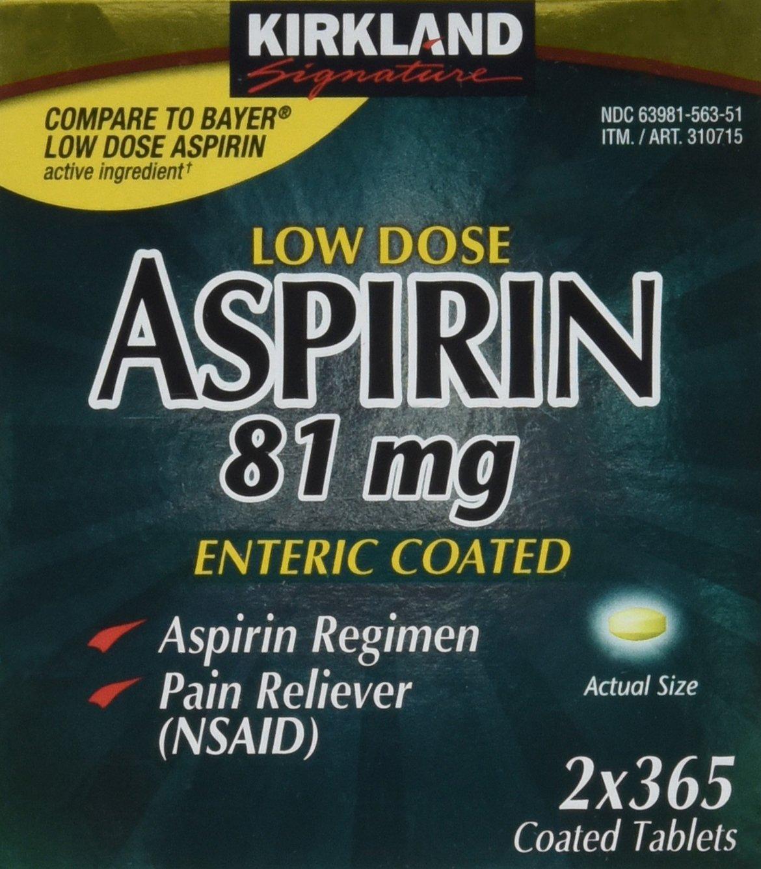 Kirkland Low Dose Aspirin (81mg x 2 x 365 enteric coated tablets) Personal Healthcare / Health Care