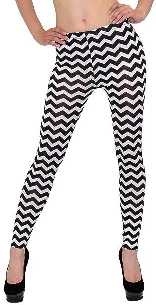 ESRA Sale Angebot Damen Leggings Zebra-Look Legins Schwarz Weiß Hose  Gestreifte Legings Gemusterte Leggins L81  Amazon.de  Bekleidung 7f6cceca48
