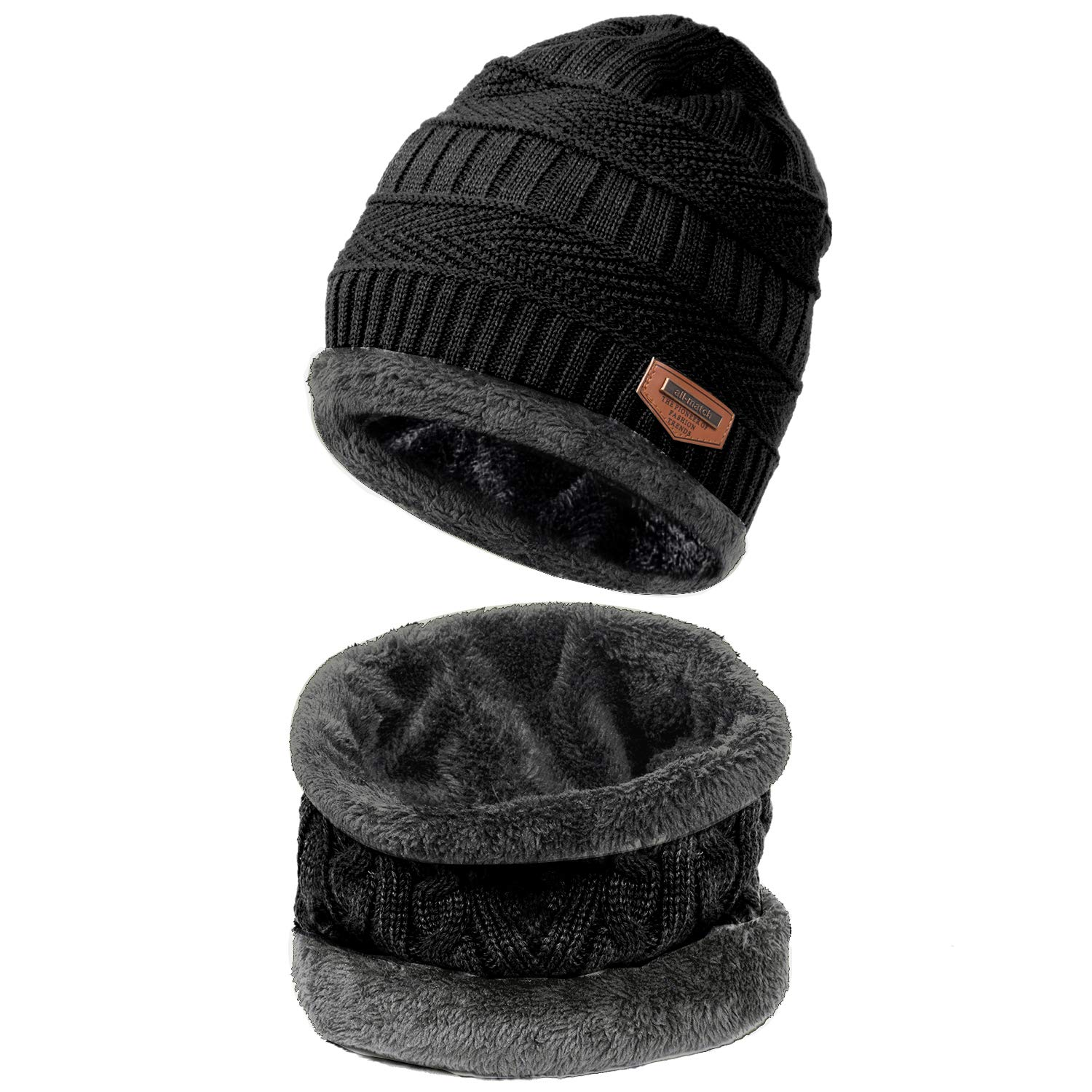 9960f4c682efa7 Amazon.com: HiCool Winter Beanie Hat Scarf Set Warm Knit Hat Thick Knit  Snow Ski Skull Cap Neck Warmer Fleece Lined Winter Hat & Scarf for Men  Women: Sports ...