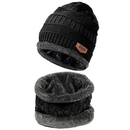 ddf536bdd88203 Image Unavailable. Image not available for. Color: HiCool Winter Beanie Hat  Scarf Set Warm Knit Hat Thick Knit Snow Ski Skull Cap Neck