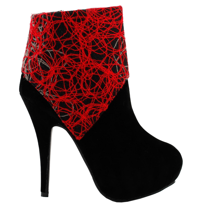 Mostrar historia mujeres negro líneas abstractas impresión estilete plataforma tacón alto bota botín, LF3030937 EU|Negro