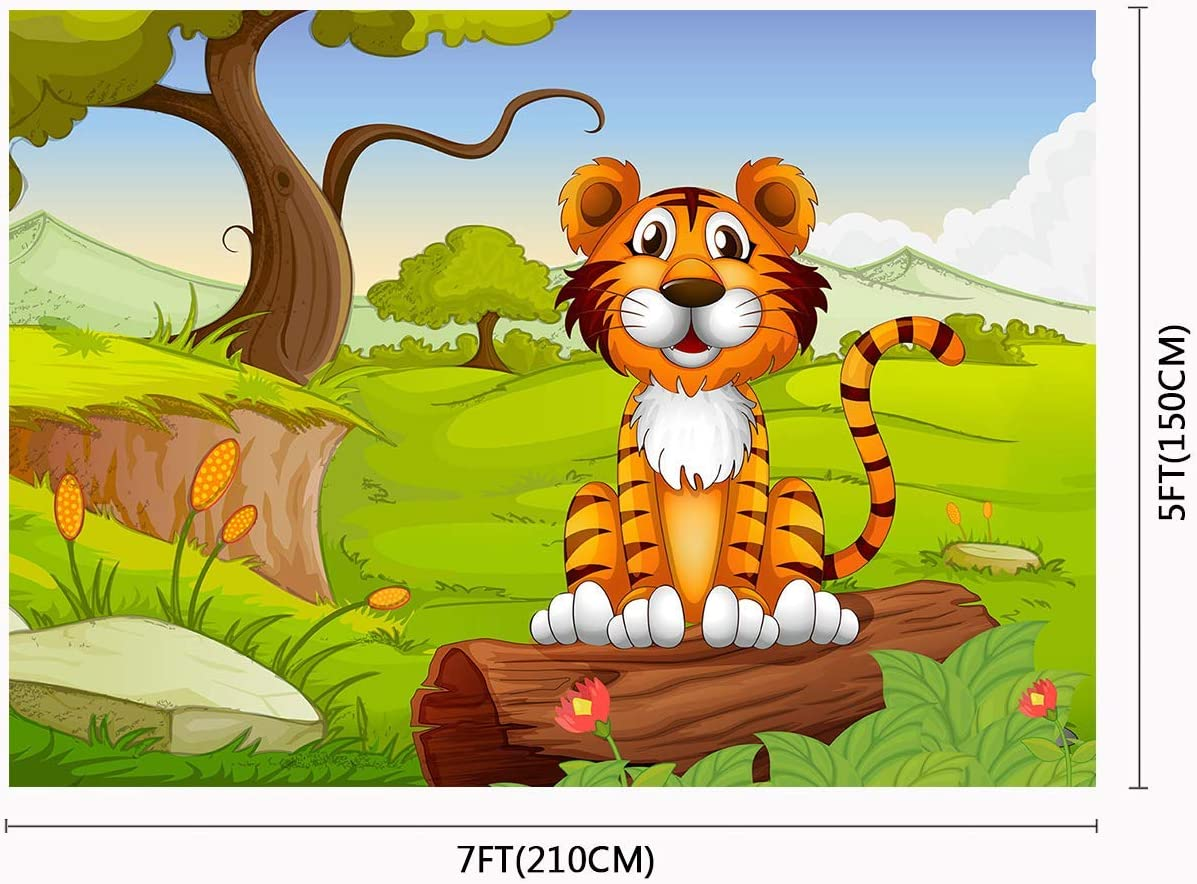 10x8ft Cartoon Tiger Backdrop Baby Photography Props Photo Studio Background LYFU269