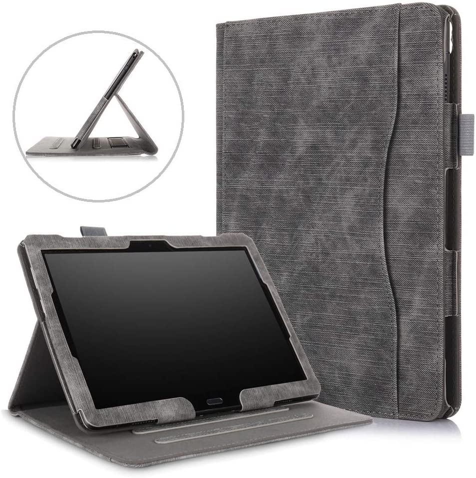 10.1 inch Tablet Case for Lenovo Tab P10 TB-X705F & Lenovo Tab M10 Case TB-X505F/TB-X605F,DETUOSI Multiple Viewing Angles Multifunctional Cover for Lenovo Tab M10/P10 10.1 with Hand Holder,Black