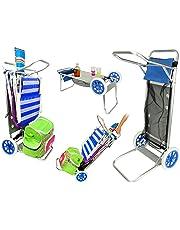 Enjoy Carro portasillas Playa Plegable con Mesa Red y Bolsillo Porta Objetos Aluminio