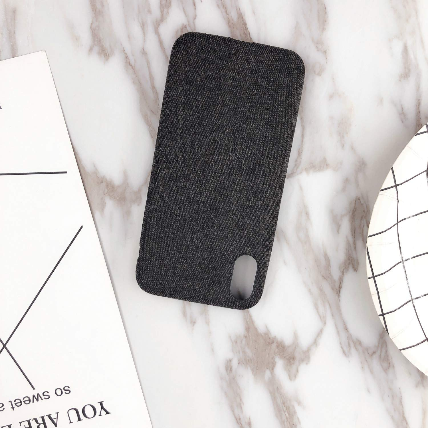 Phone Case,Ultra-Thin Felt Mobile Phone Shell Flannel Bottom Soft Shell for iPhone X Mobile Phone(Black)