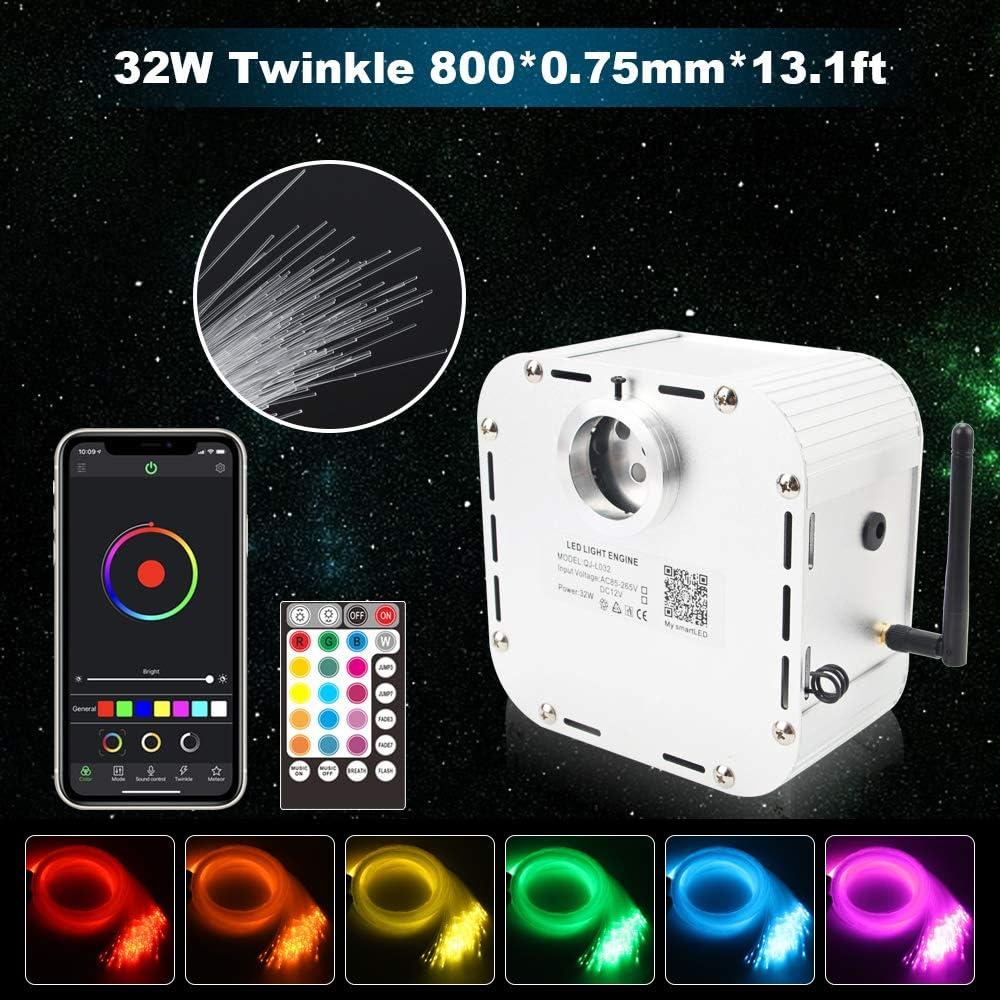 1.5 mm 1.0 mm CHINLY Bluetooth 32W RGBW TWINKLE con gradiente LED kit de techo de fibra /óptica luces LED APLICACI/ÓN//control remoto 710 piezas (0.75 mm 2.0 mm) 13.1 pies // 4 m 10 cristales