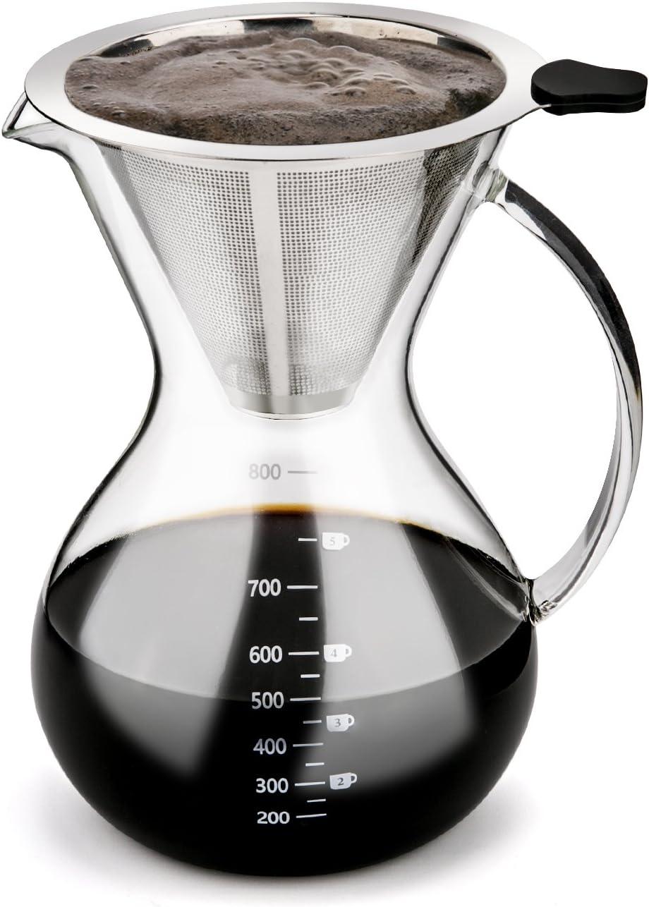 Luxebell Cafetera de Goteo de Cristal, Jarra de Café con Filtro Permanente de Acero Inoxidable (800 ML): Amazon.es: Hogar