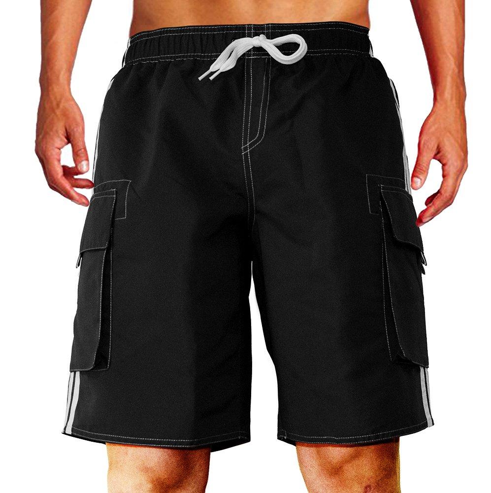 Dwar Men's Swim Trunks Beach Short (XX-Large, Black)