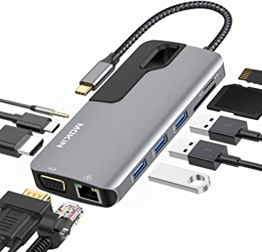USB C to HDMI Adapter for MacBook Pro 2019//2018//2017 MOKiN 9 in 1 Hub 4K USB C to HDMI 3 USB 3.0 Ports 100W USB C Power Delivery Charging SD//TF Card Reader
