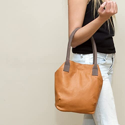 Image Unavailable. Image not available for. Color  Small handmade casual  evening handbag or shoulder bag brown leather lightweight purse for woman f32ba76547c