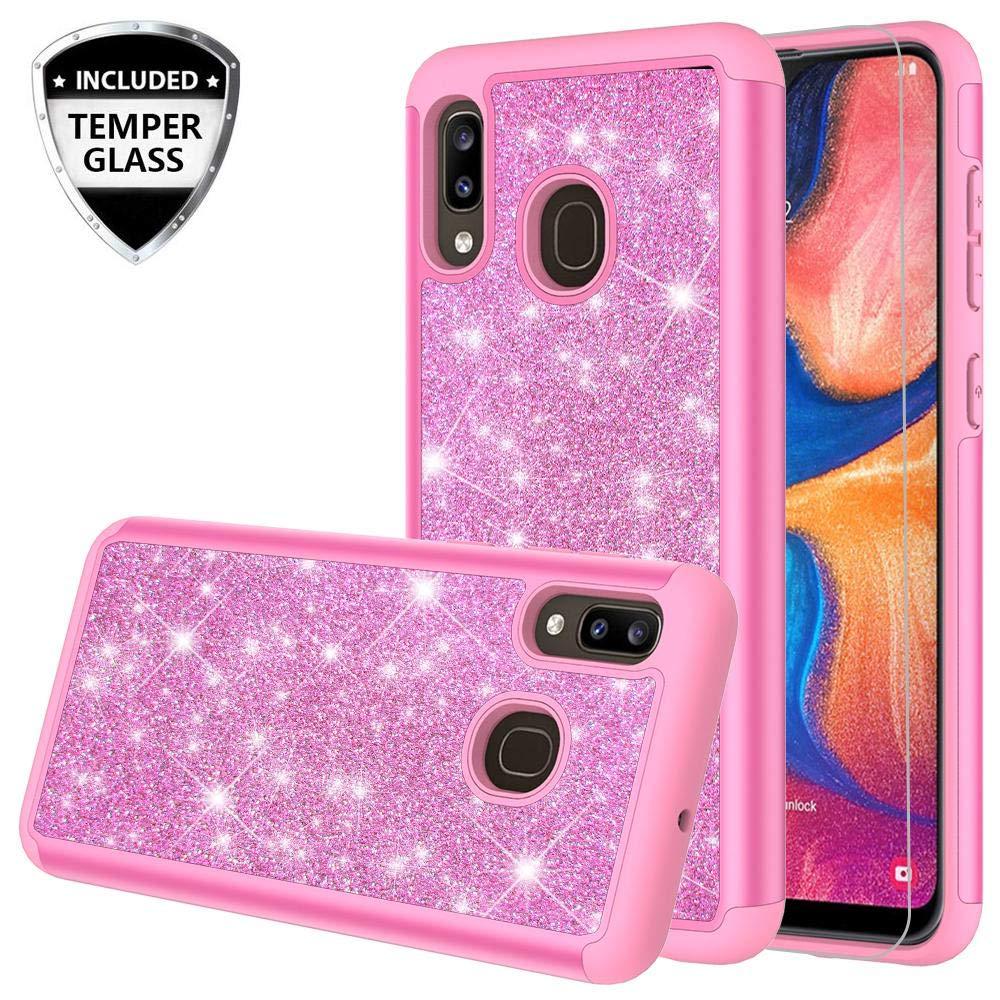 Funda + Vidrio para Samsung Galaxy A20 / A30 / A50 Glitter GALAXY WIRELESS [7VWCLL17]
