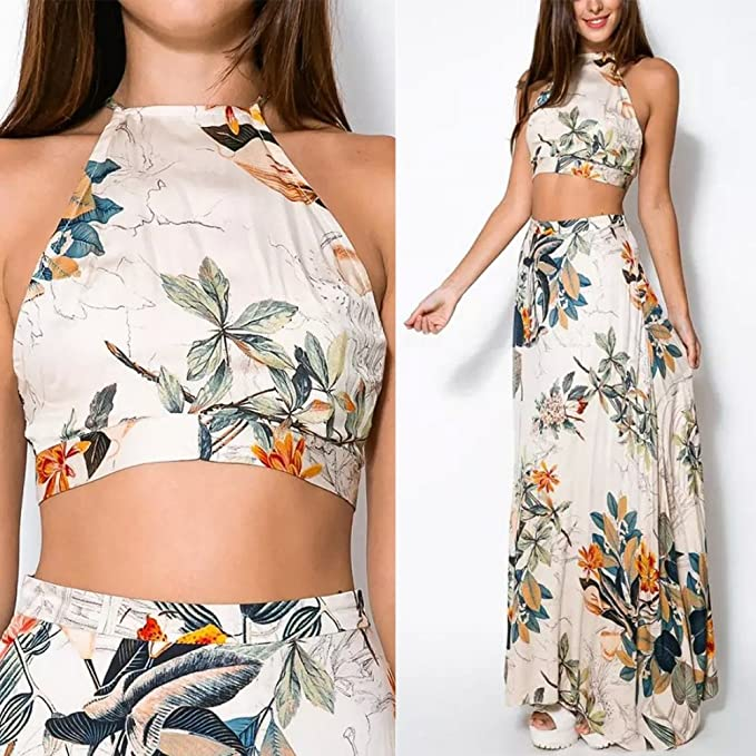 40fe4ff843 EFINNY Women Floral Bandage Maxi Dresses Beach Two Piece Boho Crop Top Long  Skirt Set at Amazon Women's Clothing store: