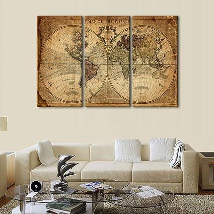 Amazon.com: World Map Wall Art Canvas Modern Paintings Globe Maps ...