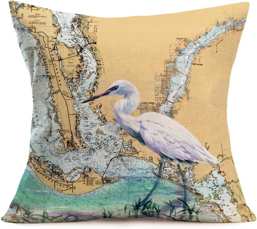 "Asminifor Vintage Series Background Map Geography Decorative Throw Pillow Case Cushion Cover 18"" x 18"" White Egret Sea Bird Pillowslip (Egret-2)"