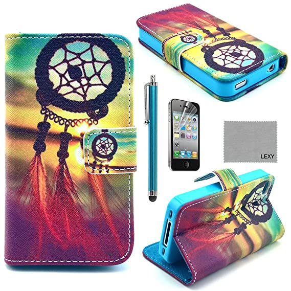 uk availability 19de1 85d74 iPhone 4/4S Case, LEXY PU Leather Full Body Case with Credit ID Cards  Holders & Stand for iPhone 4/4S with Screen Protector and Stylus (Chinese  knot)