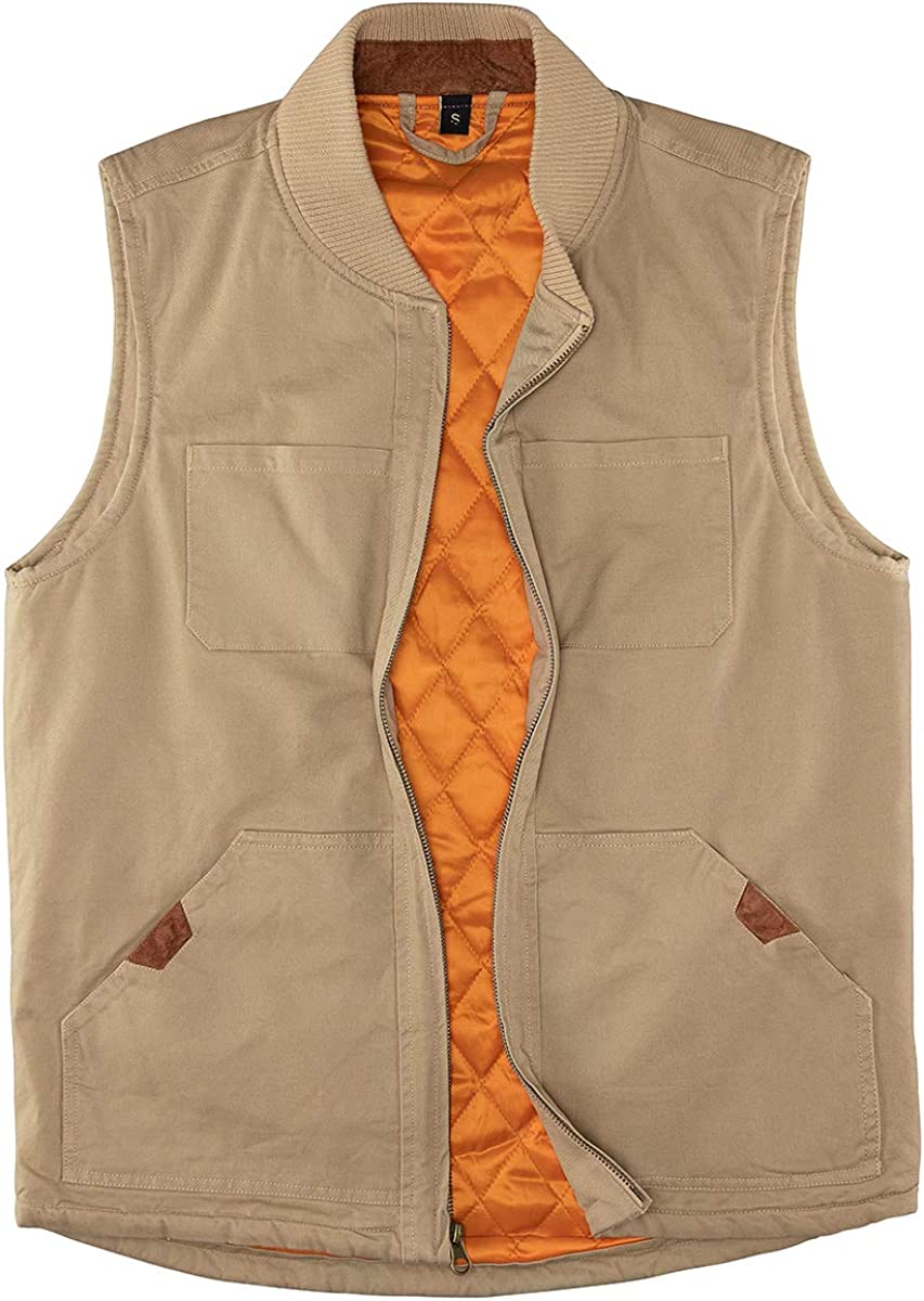 Men's Quilted Lined Vest Max 57% OFF Washed Limited time trial price Winter Outdoor Warm Canvas Hunti