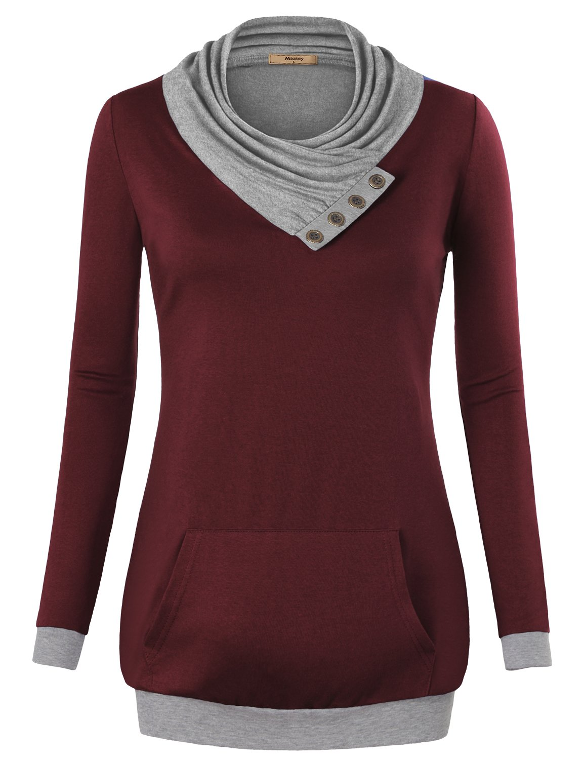 Miusey Women Clothing, V Neck Long Sleeve Flared Shirt Loose Fit Fall to Wear with Leggings Casual Tunic Top Wine Red XX-Large