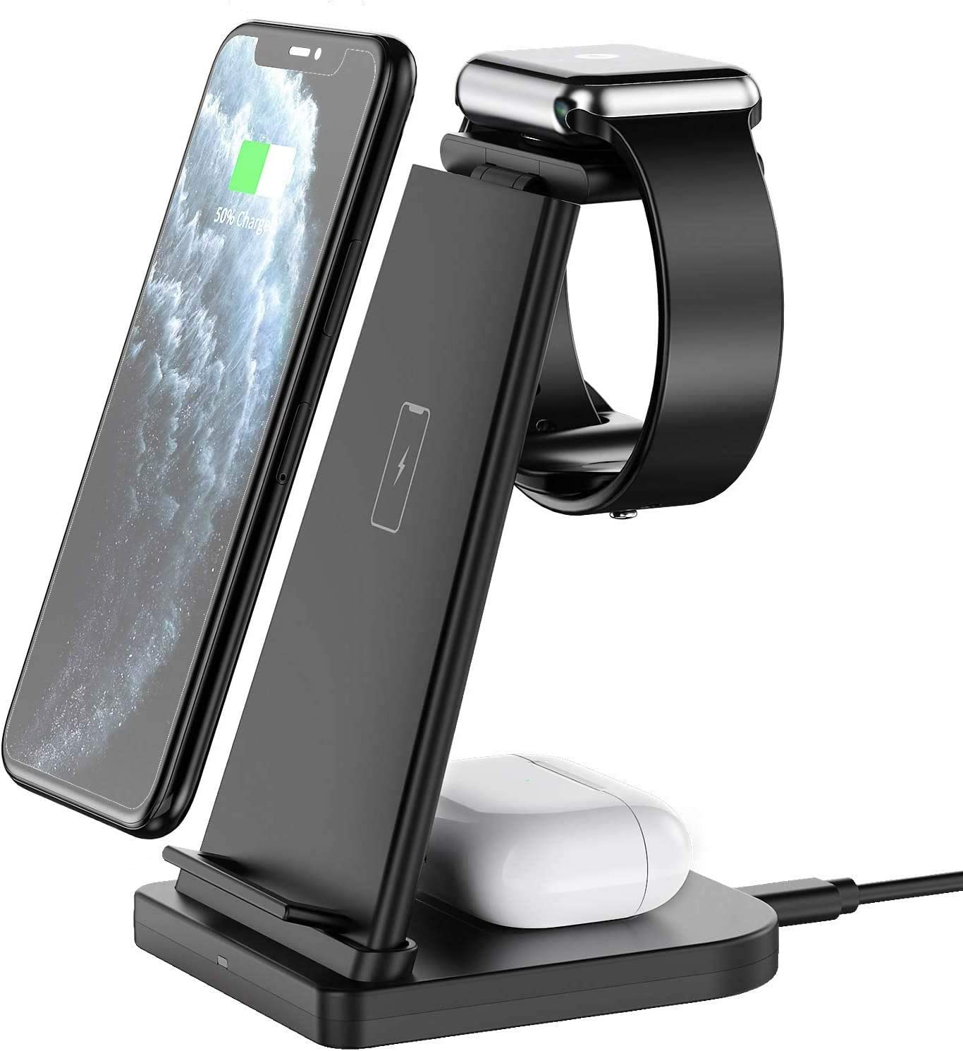 Wireless Charger Station, ABMAX 3 in 1 Multi Charging Dock for iPhone,Apple Watch Series and Airpods, Fast Qi Wireless Charger Stand for 12/12 Pro Max/11/Xs/Xs Max/XR/8/8+/Samsung etc