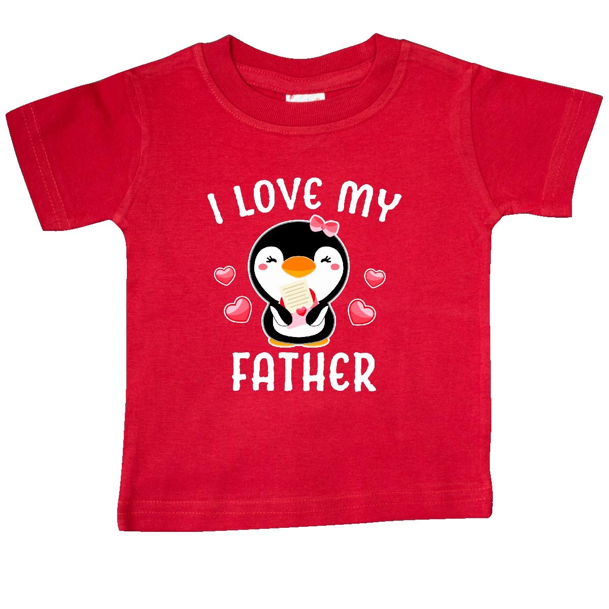 inktastic I Love My Father with Cute Penguin and Hearts Baby T-Shirt