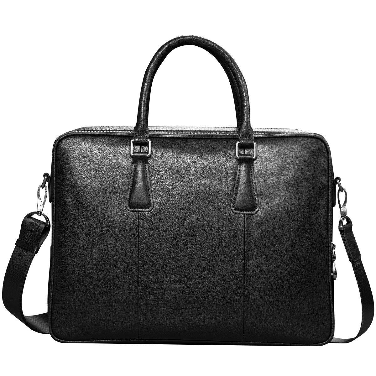 MINIBA ビジネスバッグ メンズ ブリーフケース 紳士用 柔らかい本革レザー 14インチPC収納 通学 通勤 出張鞄 A4書類鞄 ブラック B07M8M1KQZ