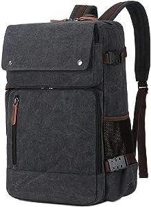 BAOSHA BC-08 3-in-1 Multifunction Men's Briefcase Rucksack Messenger Bag Convertible Vintage Canvas Laptop Backpack 15.6 inch Laptop Bags Handbag Travel Hiking Rucksack (Black)