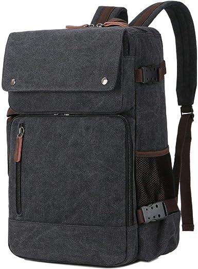 Mens Leather Satchel Shoulder Bag Messenger Bag USB Travel Hiking Backpack Gifts