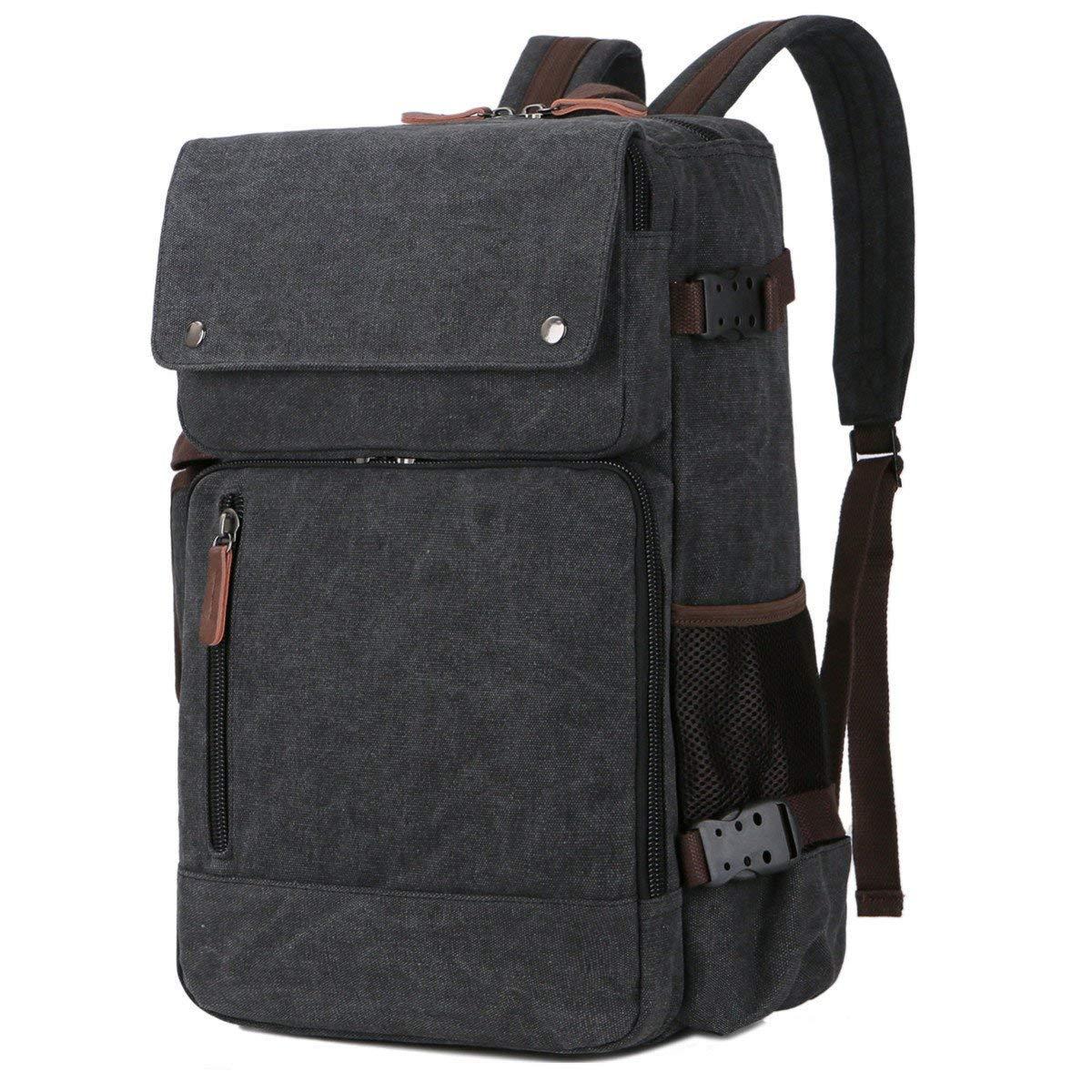 BAOSHA BC-08 3-in-1 Multifunction Men's Briefcase Rucksack Messenger Bag Convertible Vintage Canvas Laptop Backpack 15.6 inch Laptop Bags Handbag Travel Hiking Rucksack (Black) by Baosha