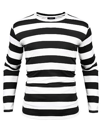 d1e260d19 iClosam Men s Crew Neck Basic Striped T-Shirt Long Sleeve Cotton Shirt