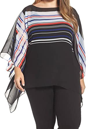696fd2d9 Vince Camuto Specialty Size Womens Plus Size Linear Graphic Panel Poncho  Rich Black 3X (US