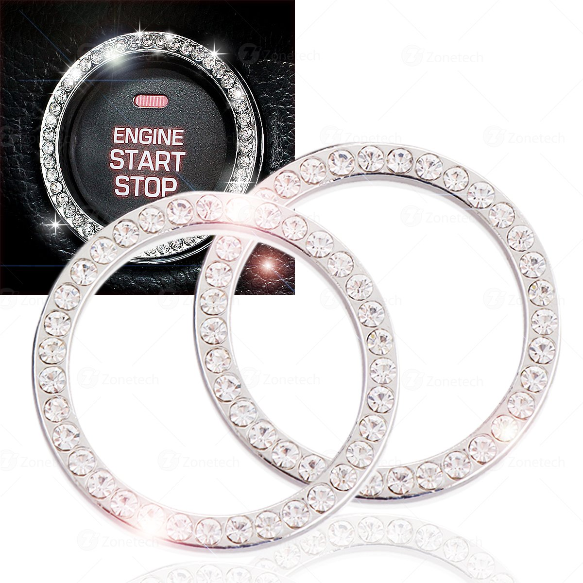 Chrystal Bling Ring Emblem Sticker Zone Tech Rhinestone Start Engine Ignition Button Car Key Knob Interior Bling Push Button Auto Decorative Decal Unique Silver Sparkly Vehicle Rings Woman 2 Pack