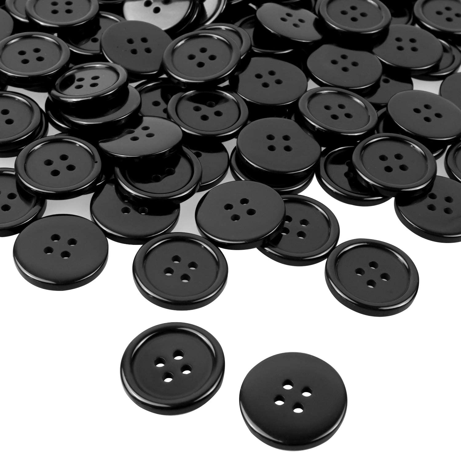 18mm   G1447 25 Black Round Resin Sewing Buttons Scrapbooking