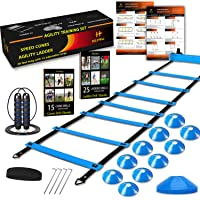 HLYWEI Speed Agility Training Set, Includes 1 Agility Ladder, 4 Steel Stakes, 1 Sports Headband,1 Jump Rope, 10 Disc…