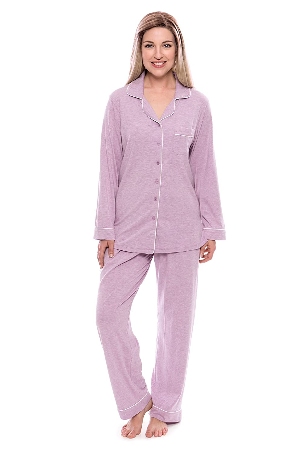 Heather purplec Women's ButtonUp Sleepwear Set (Classic Comfort) EcoFriendly Gifts by Texere