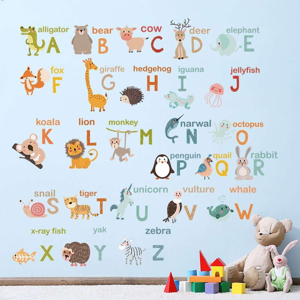 decalmile Alphabet ABC and Animals Wall Decals Classroom Kids Room Wall Decor Removable Wall Stickers for Kids Bedroom Nursery Baby Room by decalmile (Image #2)