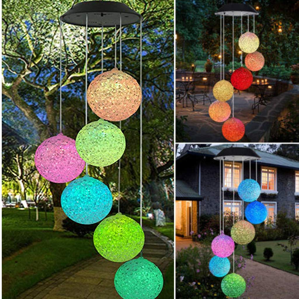 LED Solar Powered Wind Chime Light Garden Outdoor Hanging Spinner Lamp Color Changing,Suit for Christmas, Halloween,Thanksgiving Day,Mother's Day,Valentine's Day,Party,Unique Decoration (Multicolor) by Wanzi2